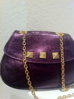 FOLEY + CORINNA GORGEOUS PURPLE LEATHER W/GOLD CHAIN XSMALL HANDBAG