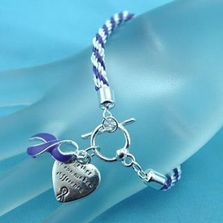 CANCER AWARENESS BRACELET Purple Ribbon Rope Style Heart Message Charm