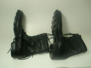US MILITARY STYLE COMBAT BOOTS BLACK LEATHER SPEEDLACE SIZE 12 Regular