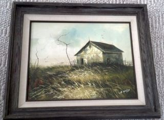 Gailey Original Oil on Canvas Signed Painting Landscape Barn Field