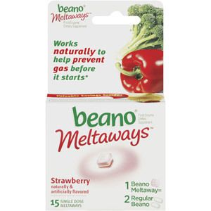 Beano Strawberry Meltaways Food Enzyme Dietary Supplement 15ct