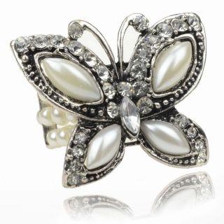 Gallant Retro Tibet Silver Multi Pearl Butterfly Diamante Cocktail