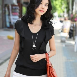 Capable Women Trimed Blouse Tunic T Shirt Office Ruffle