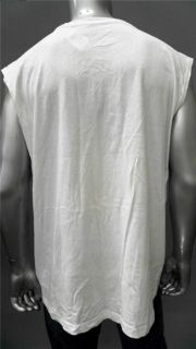 Foot Locker Muscle Mens 2XL White Cotton Basic T Shirt Tee Sleeveless