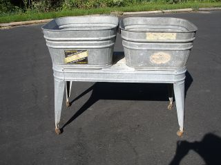 Vintage Wheeling Double Galvanized Wash Tub Stand Planter