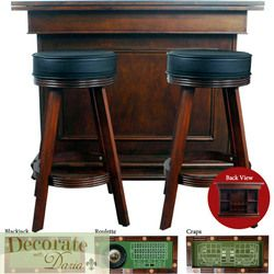 Game Table Bar Roulette Craps Blackjack 53L Stools New