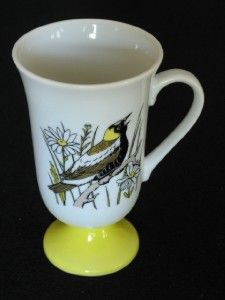 Fred Roberts Birds Irish Coffee Mugs Pedastal Cups Vintage Porcelain