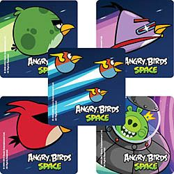 15 ANGRY BIRDS SPACE GAME Stickers Kids Party Goody Loot Bag Filler