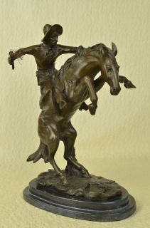Frederic Remington Bronze Cowboy Mounted On Horse Statue Marble Base