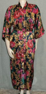 Vtg Fredericks Navy Floral Satin Robe Kimono Long Dressing Gown Red