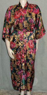 Vtg Fredericks Navy Floral Satin Robe Kimono Long Dressing Gown Red