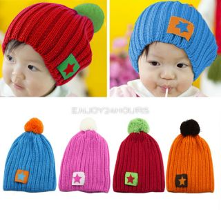 Cute Fashion Star Winter Baby Kids Knit Crochet Beanie Hat for