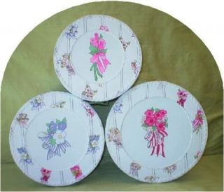 Hat Boxes Garden Stripe Hand Painted Floral Lid XLG