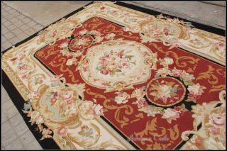 FREE SHIP! 6X9 French Aubusson Area Rug BLACK CREAM RED w Pink Rose