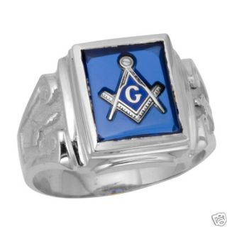 10K White Gold Blue Masonic Ring Freemason Mason 10KT Blue Lodge 3rd