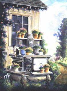 Antique Stove Range Potbelly Garden Potting Shed Bird House Art Signed