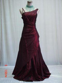 Burgundy One Shoulder Long Wedding Evening Prom Ball Gown Dress