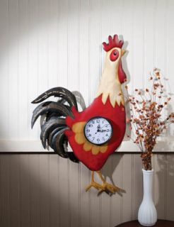 French Country Farmhouse RED ROOSTER WALL CLOCK Hen Chicken Decor