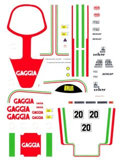 20 Gaggia Porsche 956 962 1 64th HO Scale Slot Car Decals