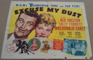 Excuse My Dust Movie Poster Half Sheet 1951 Original Folded 22x28 Red