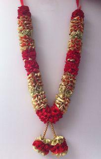 New Indian Bollywood Wedding Groom Bride Garland Jaimala Haar Gold Red