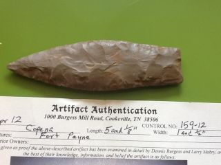 Classic Arrowhead Authentic Indian Artifact Fort Payne COA