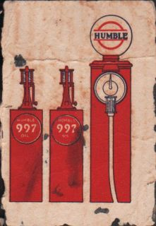 c1920s EARLY Humble Oil 997 Gas Pumps Ink Bloer Fragmen   Vinage