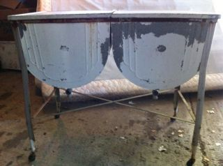 DOUBLE Wash Tub Galvanized Stand Industrial Age Beer Ice Chest Local