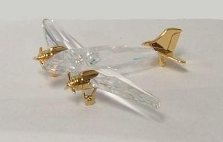 Swarovski Crystal Airplane with Gold Trim 4 Inch