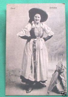 Nice C 1910 Austria Tyrol Lady Folk Costume Woman Dress