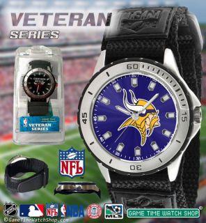 NFL Mens Game Time Team Logo Sports Watch Veteran Series Black Velcro
