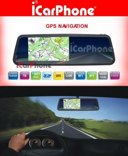 Rear View Mirror GPS Navigation Free Back Up Camera Car GPS Map in
