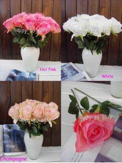 2pcs Artificial Hot Pink Rosebuds Flower Wedding Party Anniversary