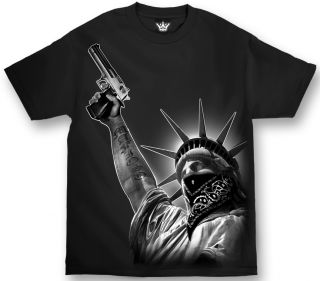 LIBERTY STICK UP GANGSTER MENS SHIRT MAFIOSO CLOTHING CHICANO RAP XL
