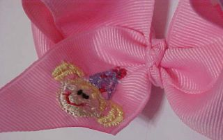 Pink Birthday Girl Embroidered Boutique Hair Bow Personalized Custom
