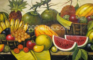 PHILIPPINE FRUITS 24x48 LUCKY PINOY Art Oil Painting FREE SHIP