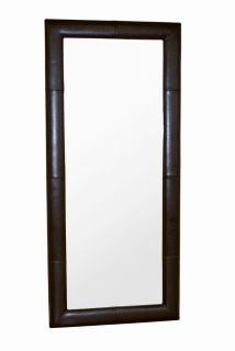 Modern Contemporary Brown Leather Framed Floor Mirror