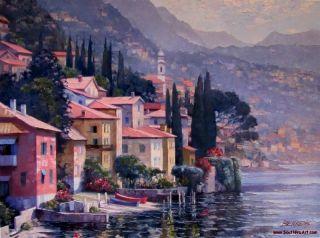 Howard Behrens Impressions of Lake Como Artist Embellished Canvas