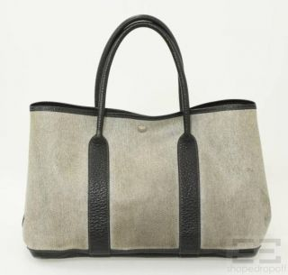 Beige Black Coated Canvas Leather Trim Garden Party Tote Bag