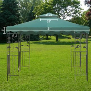Gazebo Patio Canopy Top Cover Outdoor Patio Garden 2 Tier PU