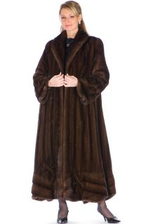 Full Length Mahogany Female Mink Coat Sz 12 Length 52