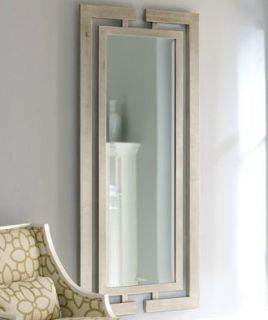 Silver Leaf Wall Mirror Modern Luxury Full Length Wood
