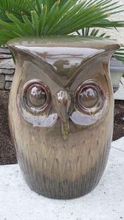 Owl Ceramic Garden Stool Seat Table Statue Plant Stand New