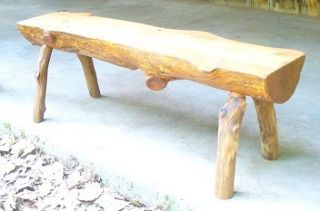 Handcrafted Rustic Pine Half Log Bench Table SEALED Oak Legs 49LX12