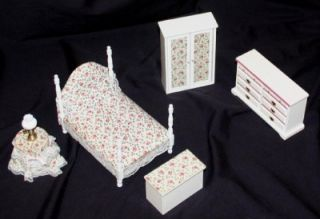 Lot 4 of 13 Dollhouse Furniture Bedroom Set 6pc White Pink Floral Bed
