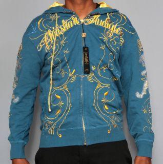 Mens Christian Audigier Blue Gold Vine Hoodie Ed Hardy Sweater S