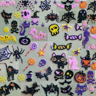 Nail Art 3D Sticker Glitter Decal Halloween Spider Web Cat Pumpkin