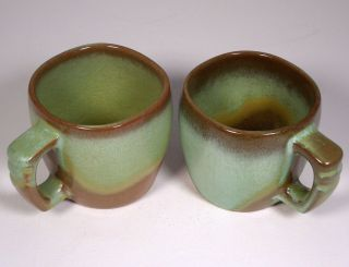 Frankoma Coffee Mugs Cups Green Brown 5C Plainsman Green Prairie