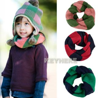 Children Kids Baby Toddler Stripe Neck Round Scarf Shawl Wraps K0E1