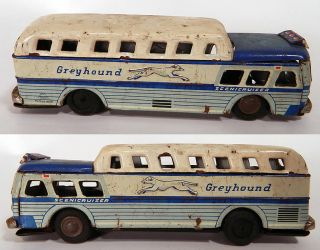 Vintage Greyhound Bus Scenicruiser Litho Tin Friction Toy SSS Japan